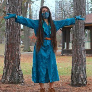 Blue Satin Floral Brocade Mumu Dress with Tassel